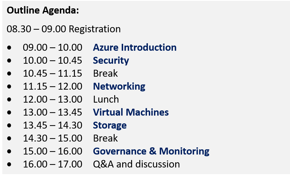 agenda for Azure workshop